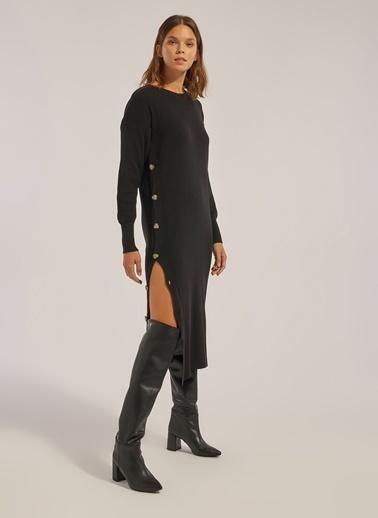 Monamoda Düğme Detaylı Triko Tunik Elbise Siyah